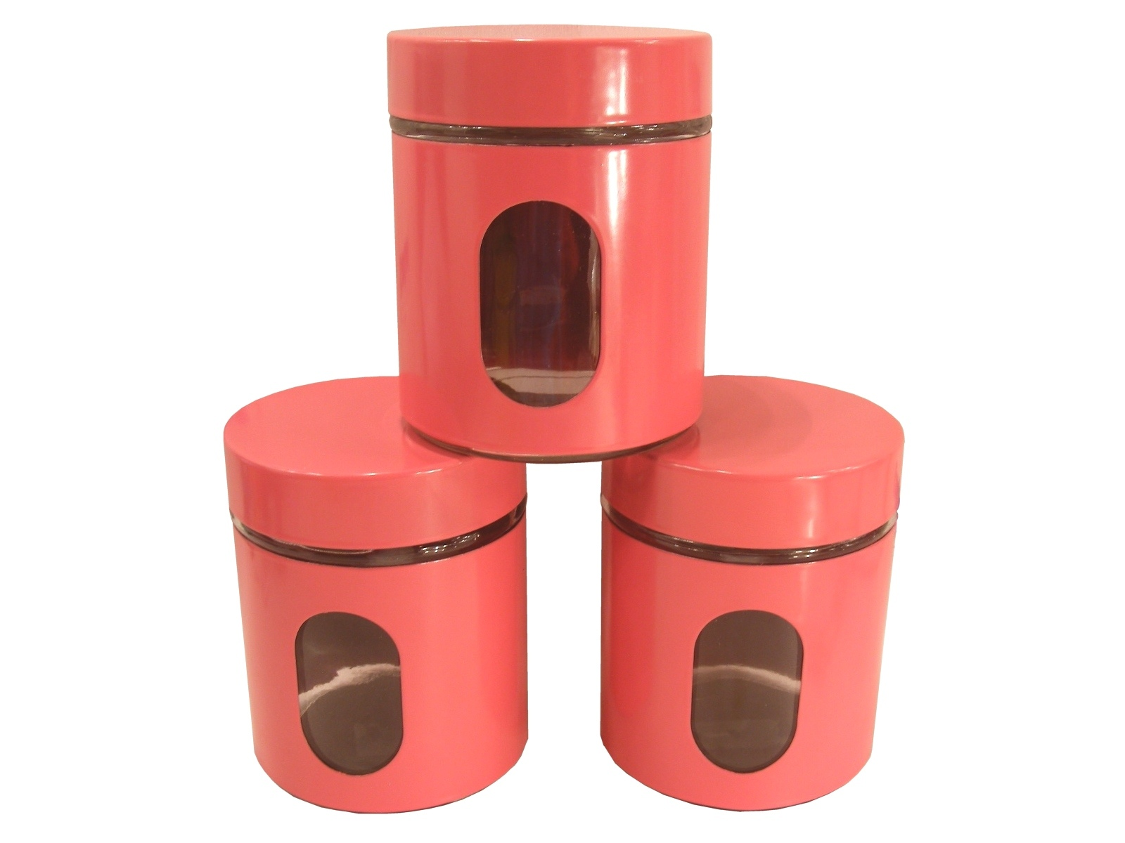 bn set of 3 pink kitchen canisters coffee tea sugar