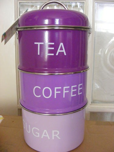Bn Set Of 3 Purple Stacking Coffee Tea Sugar Canisters