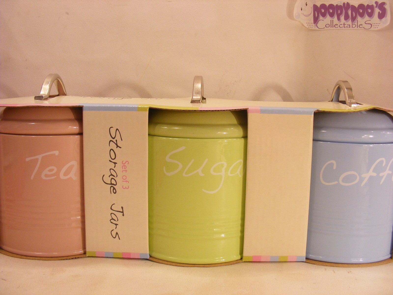 BNIB SET OF 3 PINK LIME GREEN BLUE KITCHEN CANISTERS  COFFEE TEA