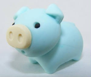 IWAKO NOVELTY ERASERS - BLUE PIG