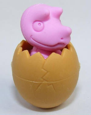 IWAKO NOVELTY ERASERS / RUBBERS - PINK DINOSAUR IN EGG