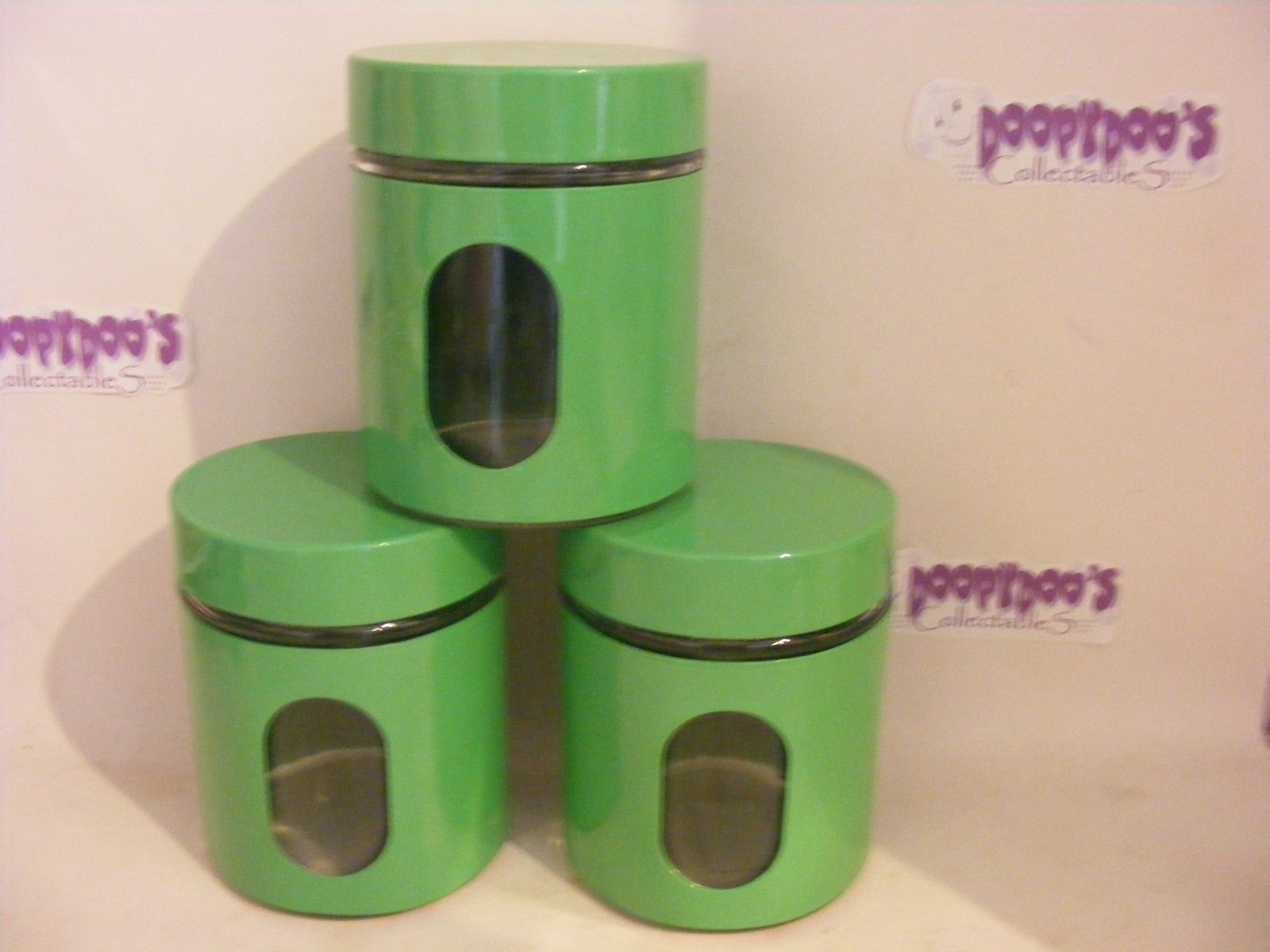 BN SET OF 3 GREEN KITCHEN CANISTERS - COFFEE,TEA,SUGAR