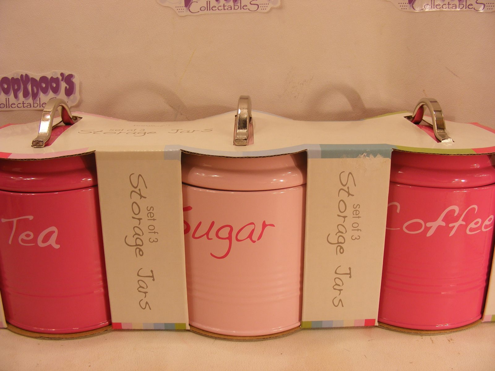 pink kitchen canisters bnib set of 3 pink kitchen canisters coffee tea sugar 4065